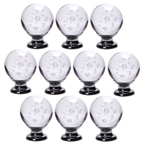 IFOLAINA Pack of 10 3D Laser Engraving Crystal Glass Bubbles Ball Cabinet Knob Cupboard Drawer Pull Handle 30mm White ¡ (White Cabinet Knobs And Pulls compare prices)