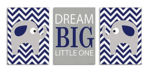 The Kids Room by Stupell Dream Big Little One Grey Elephant with Blue Chevron 3-Pc Wall Plaque Set