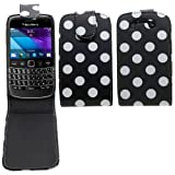 Samrick Polka Dots Specially Designed Leather Flip Case for Blackberry 9790 Bold - Black/White