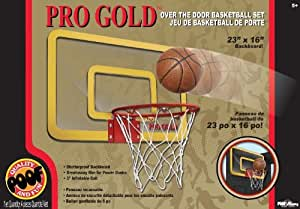 POOF-Slinky 464BL POOF Pro Gold Over The Door 23-Inch Breakaway Rim Basketball Hoop Set with Clear Shatterproof Backboard and 5-Inch Inflatable Ball by Poof TOY (English Manual)