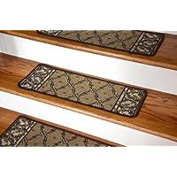 Dean Washable Non-Skid Carpet Stair Treads - Trellis Beige (13)