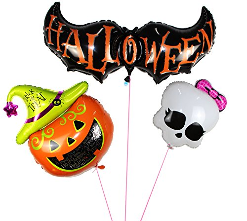 Langxun Halloween Pumpkin & Bat & Skull Air-filled /Hydrogen / Helium Balloons for Party Decoration / Birthday / Theme Party / Kids Toys