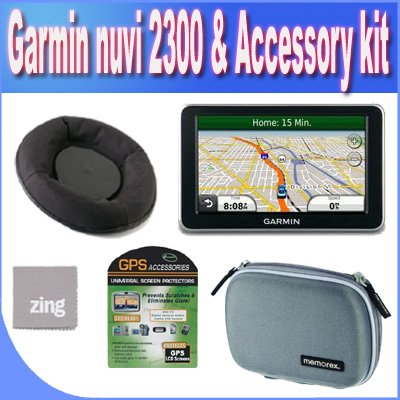 Garmin nvi 2300LM 4.3-Inch Widescreen Portable GPS Navigator with Lifetime Maps Updates + Friction Dash Pad Mount + Zing Micro Fiber Cleaning Cloth + GPS Screen Protectors + Shock Proof Deluxe GPS Case!