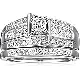"Kobelli ""Je T'aime"" Round Diamond Wedding Ring Set, (1 cttw, H-I Color, I1-I2 Clarity)"