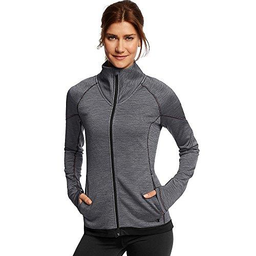 Champion Women's Tech Fleece Full Zip Jacket_Granite Space Dye/Black_L