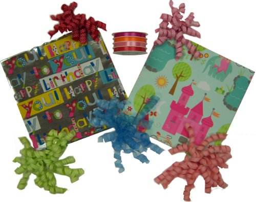The Gift Wrap Company Birthday Gift Wrapping Set with Birthday Princess Wrap and Ribbon Kit
