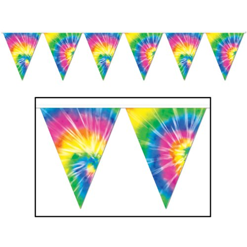 Tie-Dyed Pennant Banner Party Accessory (1 count) (1/Pkg) (Tie Dye Decorations compare prices)