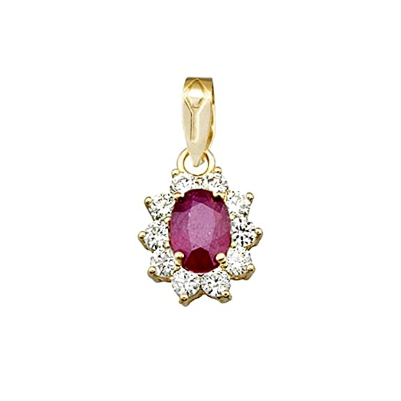 18k gold pendant 7x5mm oval stone ruby ??center. zircons [AA4818]