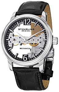 Stuhrling Original Mens 841.02 Aristocrat Cardinal Mechanical Bridge Skeleton Black Watch