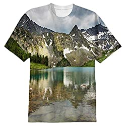 Snoogg Mirror Image Of Mountain Mens Casual All Over Printed T Shirts Tees