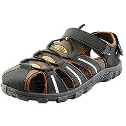 Men\'s Easy USA Waterproof Sport Sandals, Black/Brown, 8 M US