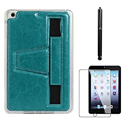 DMG Premium TPU Skin with PU Leather Hand Holder Cover Case For Apple iPad Mini / Mini 2 / Mini 3 (Blue) + Matte Screen + Stylus