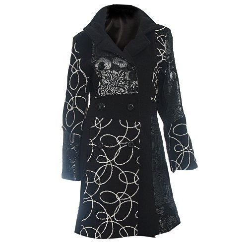 #699 Damen Designer Patchwork Winter Mantel Trenchcoat Wintermantel 36 38 40 42 44 46 (36)