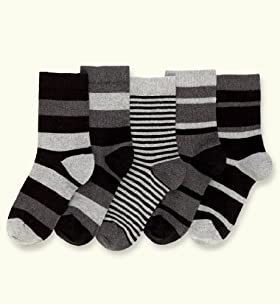 5 Pairs Of Older Boys' Autograph Cotton Rich Assorted Stripe Socks