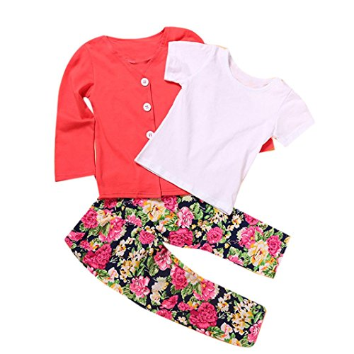 Creazy 1Set Kids Toddler Girls Long Sleeve T-Shirt Tops+Coat+Pants Clothes Outfits (2T)