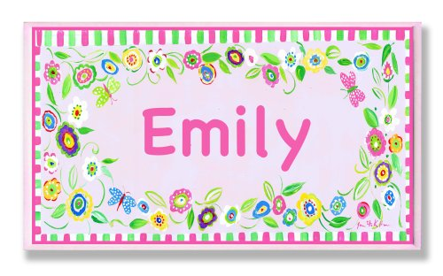 The Kids Room by Stupell Emily, Pink and Green Border with Flowers Personalized Rectangle Wall Plaque - 1