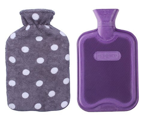 HomeTop Premium Classic Rubber Hot or Cold Water Bottle with Soft Fleece Cover (2 Liters, Purple / Gray Polka Dot) (Hot Water Bottle For Pain compare prices)