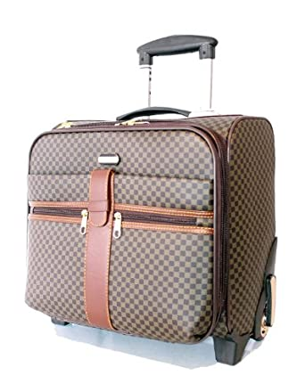 Designer inspired check pattern laptop trolley weekend for Laptop cabin bag