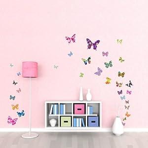 Decowall, DW-1201, 38 papillons colorés stickers muraux | paroi murale | sticker mural