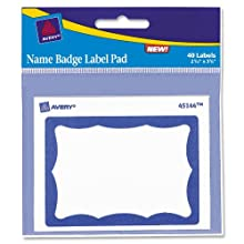 Avery Border Name Badge Label Pad, Blue, 40 Labels (45144)
