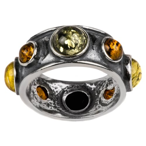 Natural Multicolor Amber Sterling Silver Round Stone Magic Look Ring