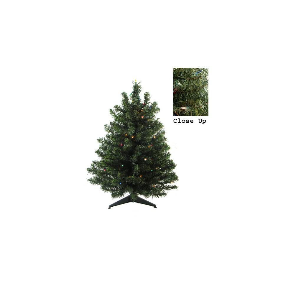3 Pre Lit Natural Two Tone Pine Artificial Christmas Tree   Multi Color Lights