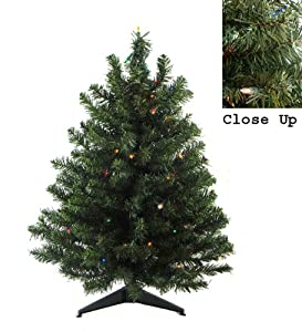 #!Cheap 3' Pre-Lit Natural Two-Tone Pine Artificial Christmas Tree - Multi-Color Lights