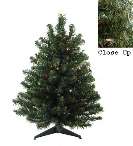 3′ Pre-Lit Natural Two-Tone Pine Artificial Christmas