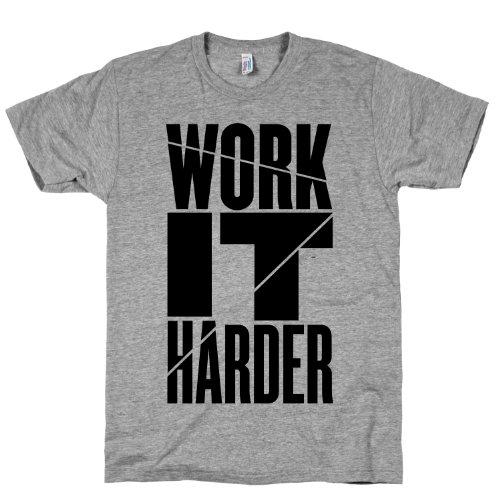 Work It Harder Crewneck T-Shirt (Heather Gray, Size Large)