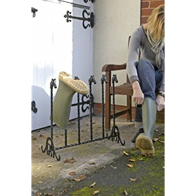 Free Standing 'Ascot' Wrought Iron Boot Rack - Equine Design - Perfect for Storing & Drying