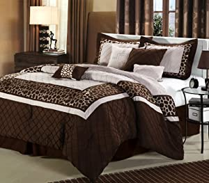 Chic Home Safari 8-Piece Comforter Bedding Set, Brown, King