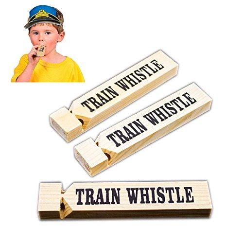 Adorox Toy Train Whistle Locomotive Railroad Western (Wooden (12 Whistles)) (12 Wood Train Whistles compare prices)