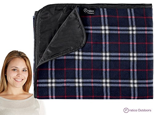 Premium Extra Large Picnic & Outdoor Blanket with Improved Backing, Carrying Buckle, & Machine Washable (Navy Blue) (Pics Of Dogs W compare prices)