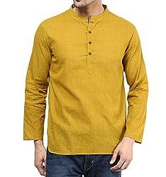 VIVIDS INDIA Menswear Kurta(Gold,Cotton,G-117-M)