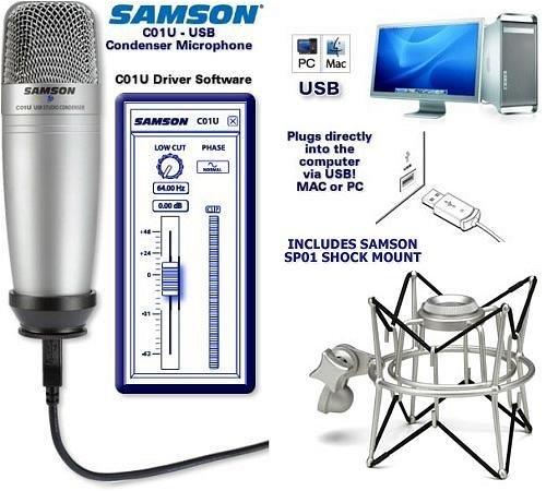Samson C01U Usb Studio Condenser Microphone With Sp01 Shock Mount Kit
