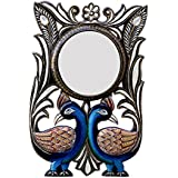 Divraya Wood Peacock Wall Mirror (30.48 Cm X 4 Cm X 45.72 Cm, DA102)