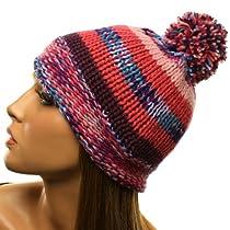 Winter Mix Combo Knit Pom Pom Beanie Skull Ski Snow Hat Cap Multicolor Pink S