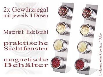 2x Gewürzdosenregal in Edelstahl Gewürz Ständer 8 Dosen