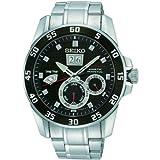 Seiko Sportura Kinetic Perpetual Black Dial Stainless Steel Quartz Mens Watch SNP055 thumbnail
