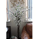 Artificial Blossom Tree with Lifelike Leaves and Cream Silk Flowers -5 Feet