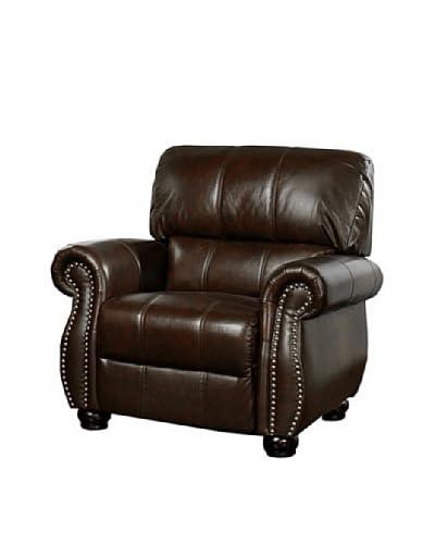Abbyson Living Lea-Lee Italian Leather Armchair, Burgundy
