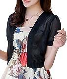 (スカイシイ) skySea ボレロ カーディガン シフォン シースルー 上品 半袖 レディース 白 黒 M L XL (黒 : L)
