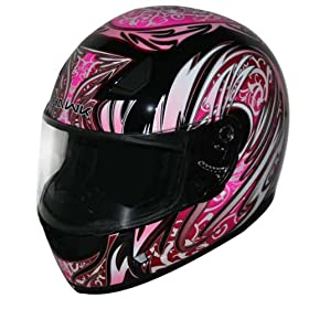 HAWK Black with Pink Full Face Motorcycle Helmet - Size : Small
