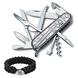 Victorinox Swiss Army Knife Tech Huntsman Silver Translucent with Victorinox Paracord Bracelet