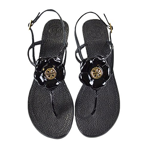 Tory Burch Shelby 50Mm Thong Patent Calf Heels Sandals Black Size 8.5