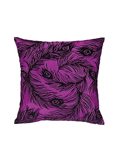 Nanette Lepore Villa Peacock Embroidered Pillow, Fuchsia