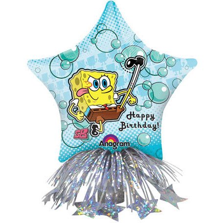 "14"" Spongebob Birthday Star Centerpiece Foil Balloon Centerpiece (1 per package) - 1"