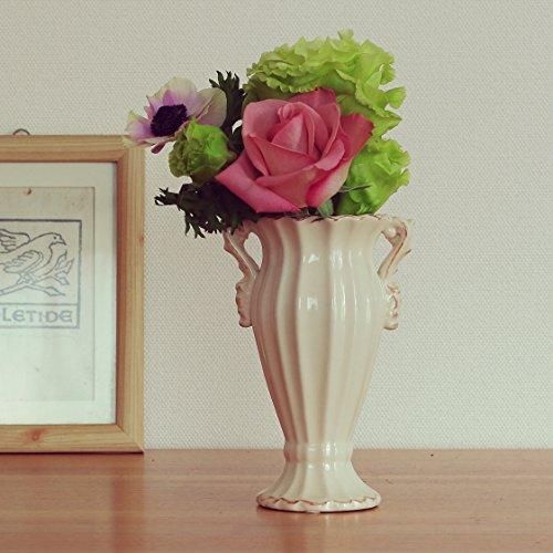 arielleアイボリー 大人フェミニンなエレガントスタイル・リンネル 花瓶 フラワーベース 陶器