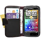 Yousave Accessories PU Leather Executive Wallet Flip Cover Case with Cash Card Slots, Screen Protector Film for HTC Sensation/Sensation XE - Black