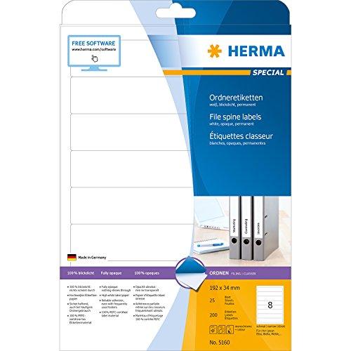 herma 5160 ordner etiketten wei 192x34mm superprint